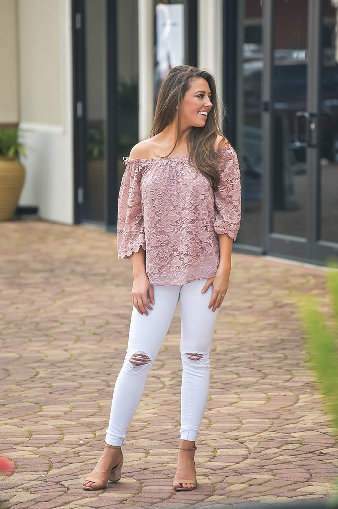 Keep Me in Mind Mauve Lace Top