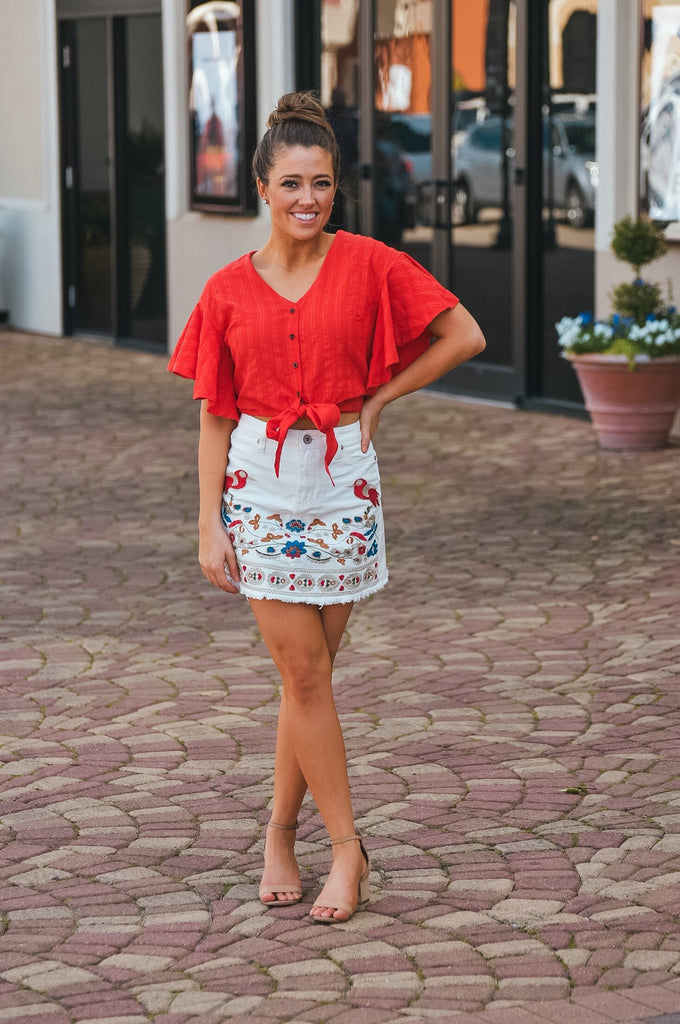 Kendra White Denim Embroidered Skirt