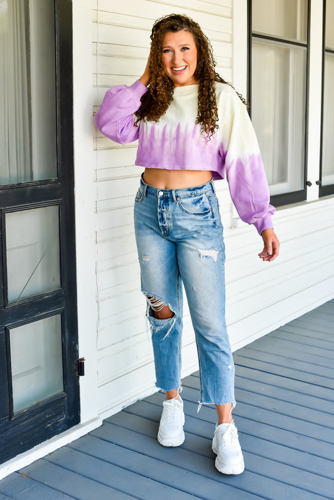 Key to Happiness Tie Dye Cropped Sweatshirt