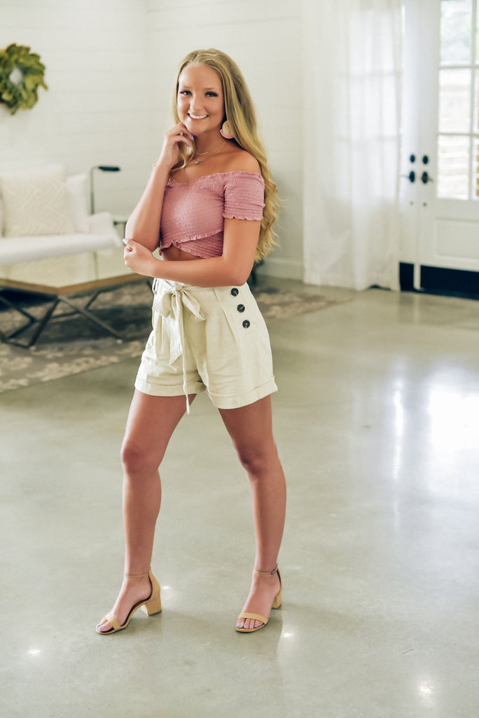 Kimberly Taupe Paperbag Shorts