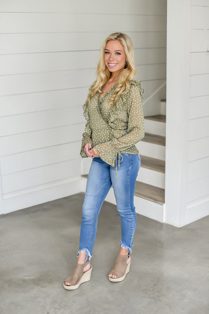 Kyla Polka Dot Top in Olive