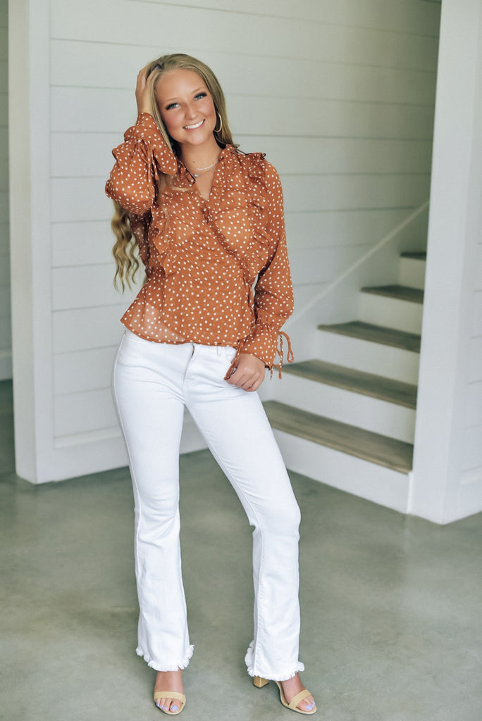 Kyla Polka Dot Top in Rust