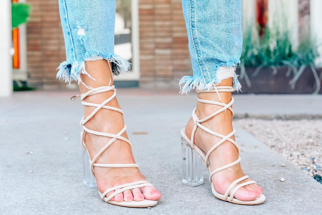 Lace Up Clear High Heels