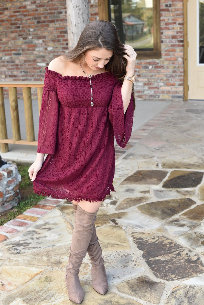 Love On the Weekend Off the Shoulder Lace Dress