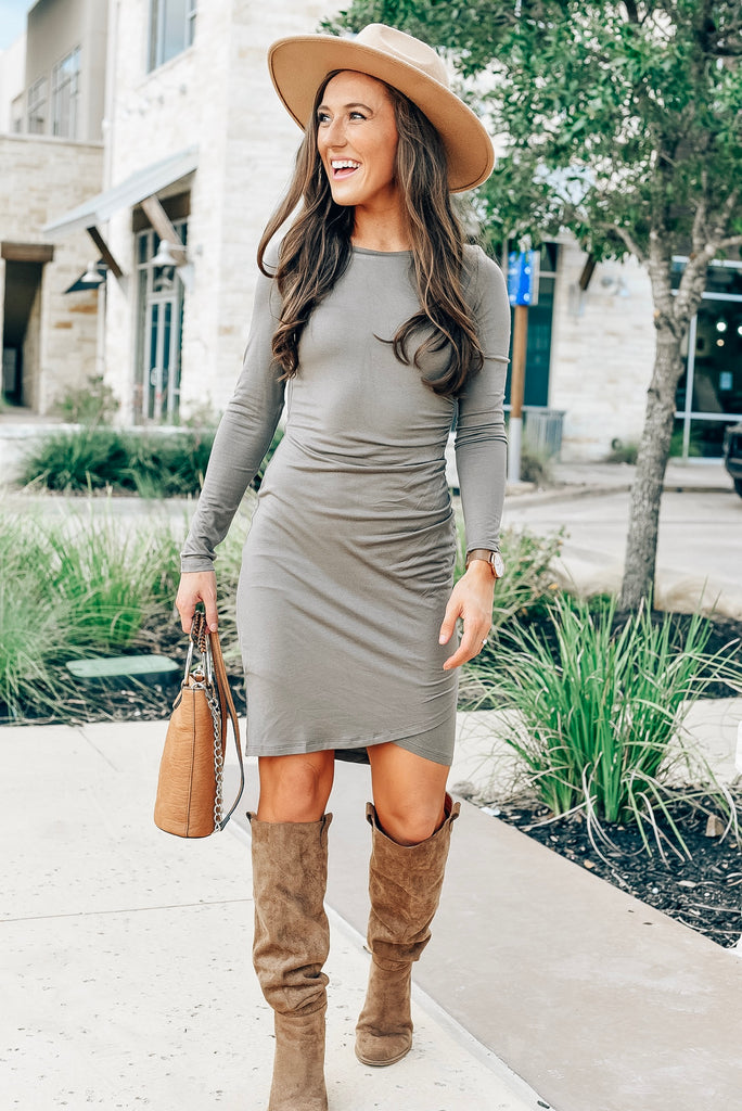 Love Story Ruched Dress in Ash Mocha