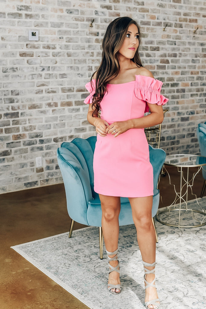 Make a Statement Off The Shoulder Dress in Doll Pink