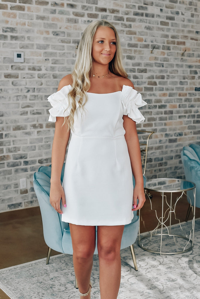 Make a Statement Off The Shoulder Dress in White