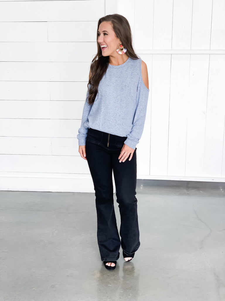 Melanie Cold Shoulder Knit Top