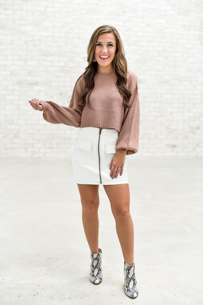Keep Your Head Up Cropped Sweater in Mauve
