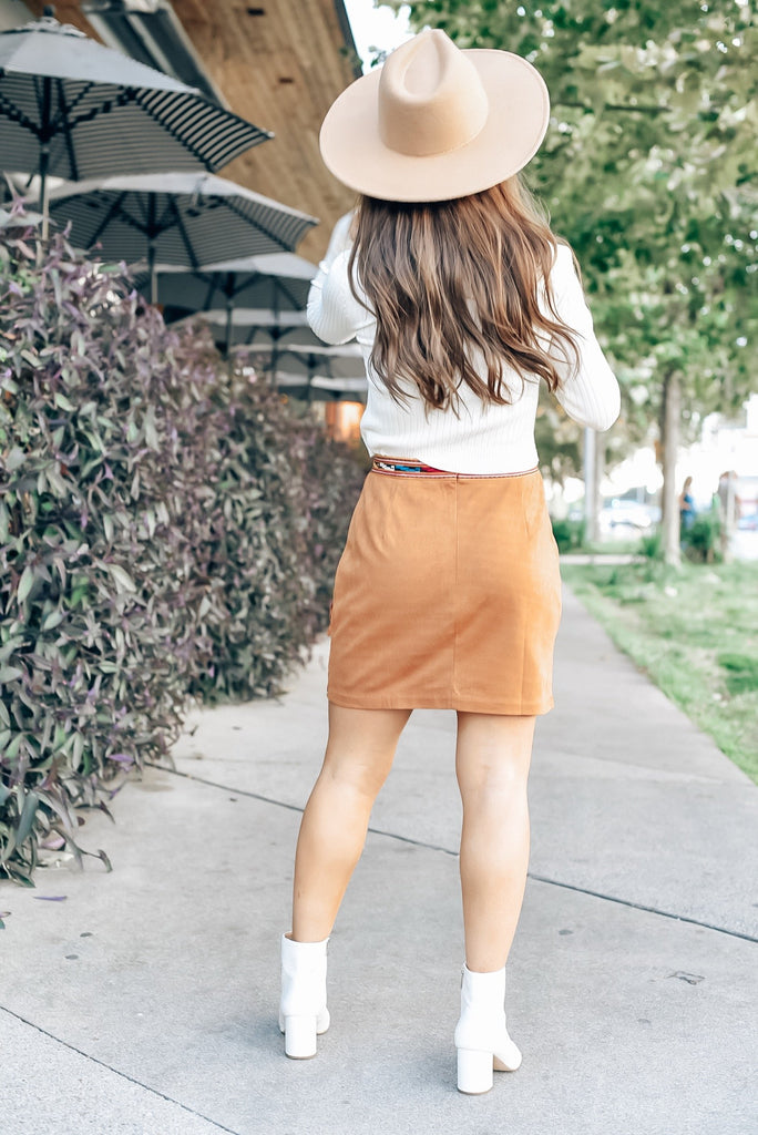 Mountain Views Fringe Suede Skirt