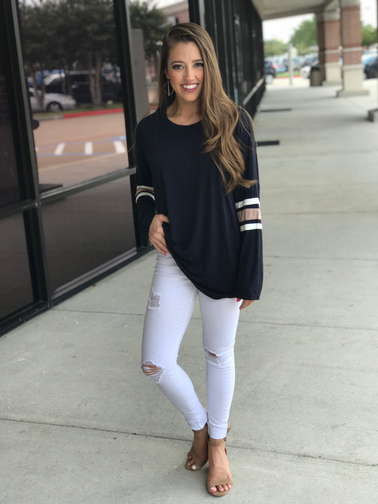 Navy Crew Neck Top