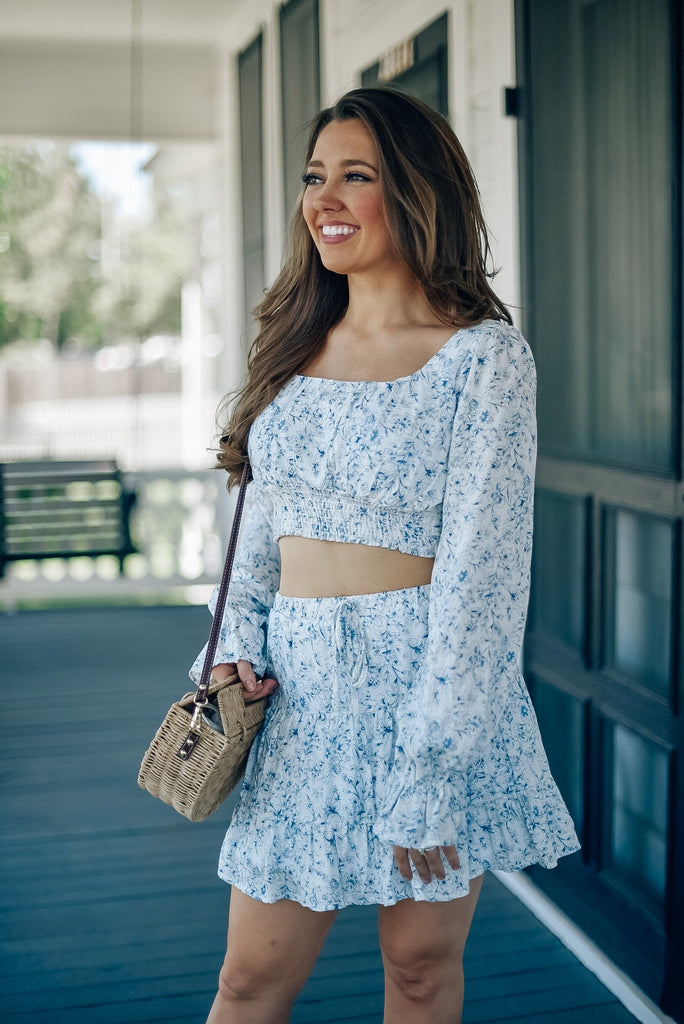 Near the Shore Floral Crop Top