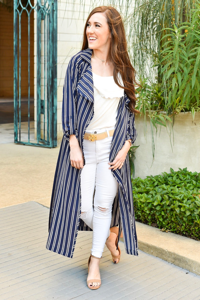 New York City Navy Striped Kimono