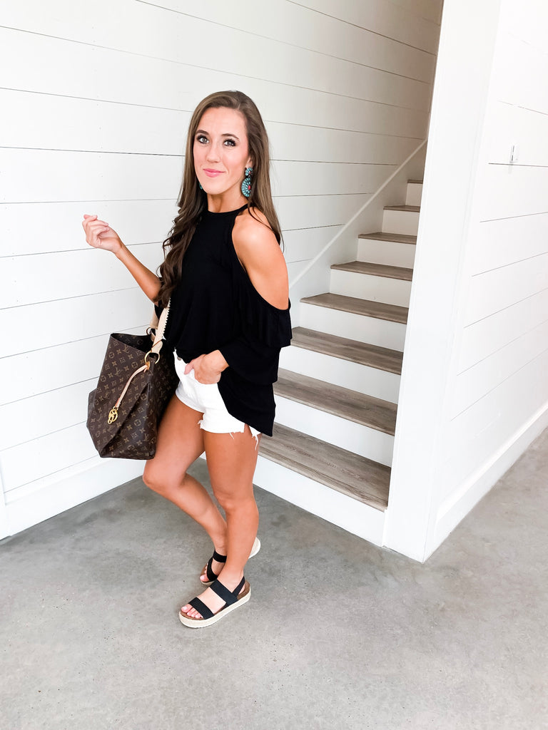 One Thing Right Black Ruffle Top