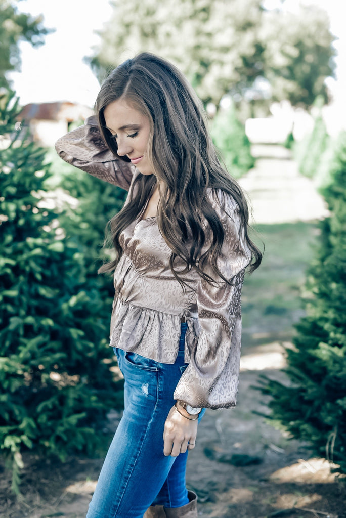 One True Love Cheetah Ruffled Top