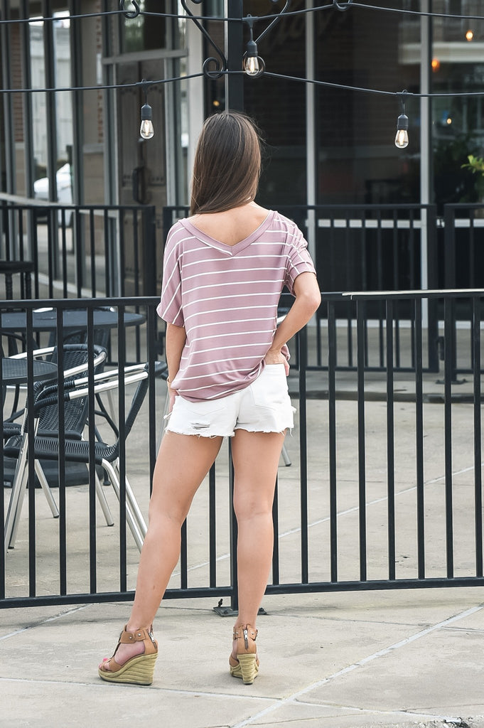 Parker Striped Top in Mauve