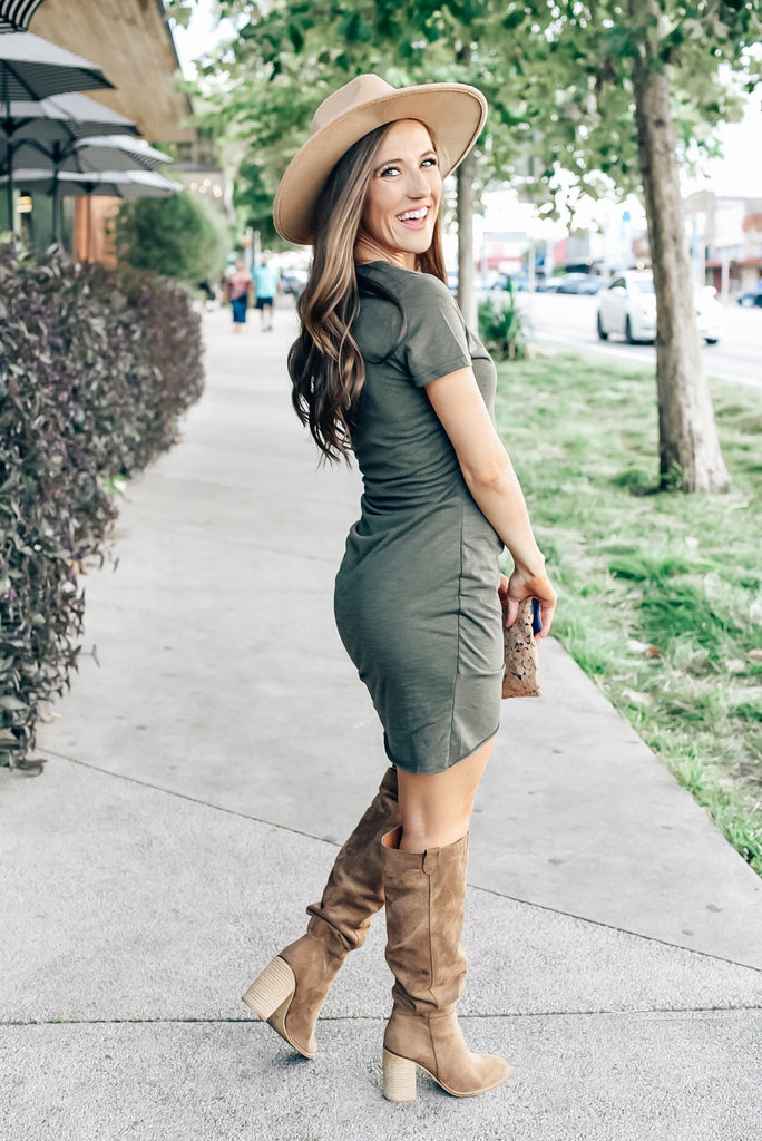 Piper Ruched Dress in Olive