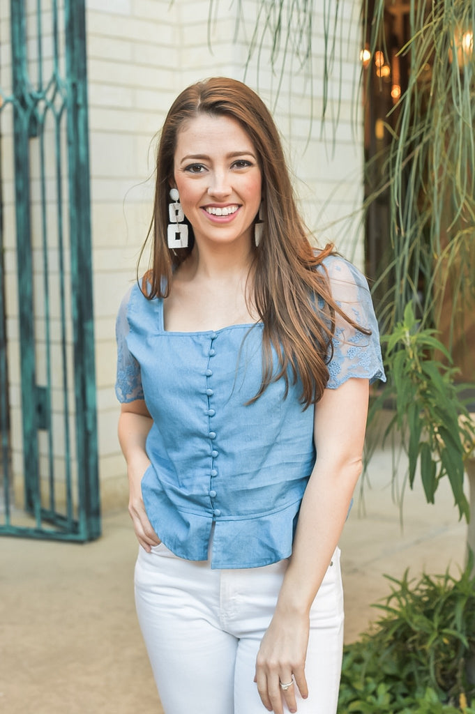 Rodeo Nights Denim Button Up Top