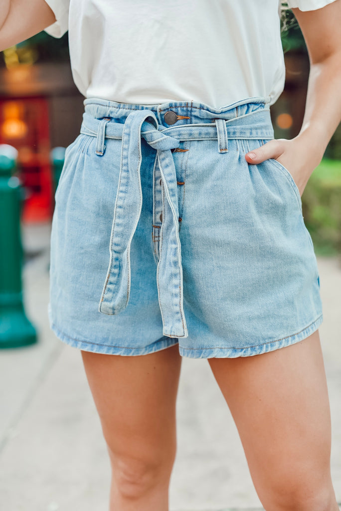 Seaside Moments High Waisted Denim Shorts