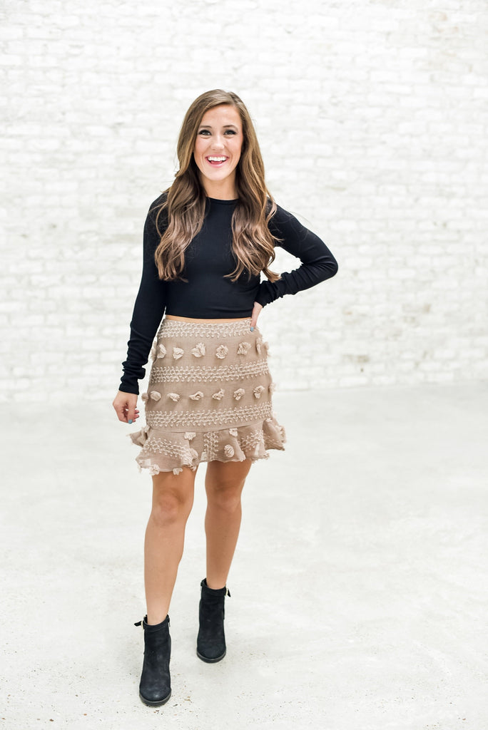 She's the One Detailed Skirt in Coffee