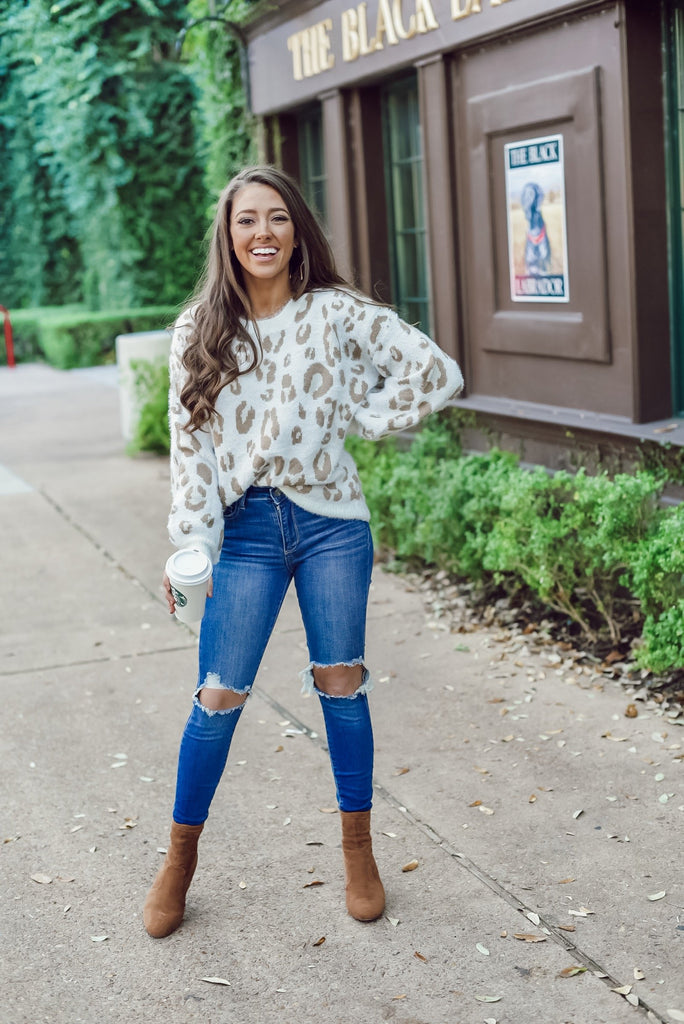 Snowflake Snuggles Leopard Sweater