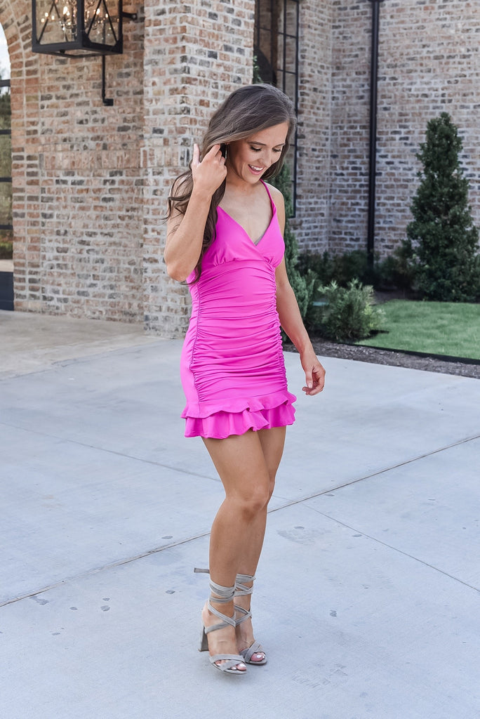 Social Scene Fuschia Ruffle Dress