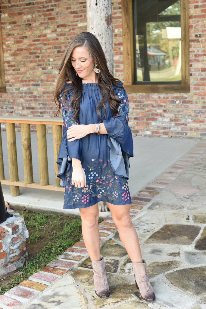 Southern Roots Denim Off The Shoulder Dress