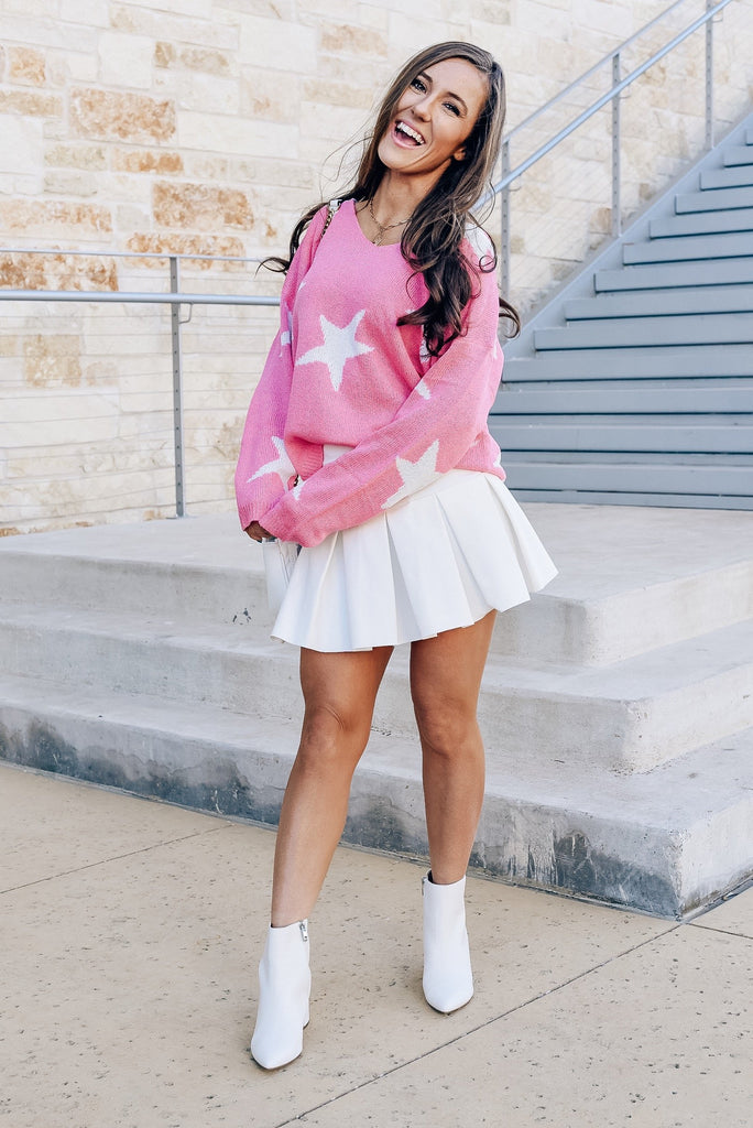 Star of the Party Sweater in Pink