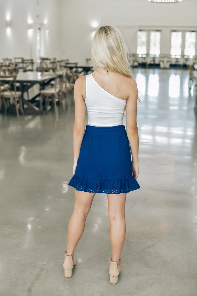 Summer Icon Eyelet Skirt in Blue
