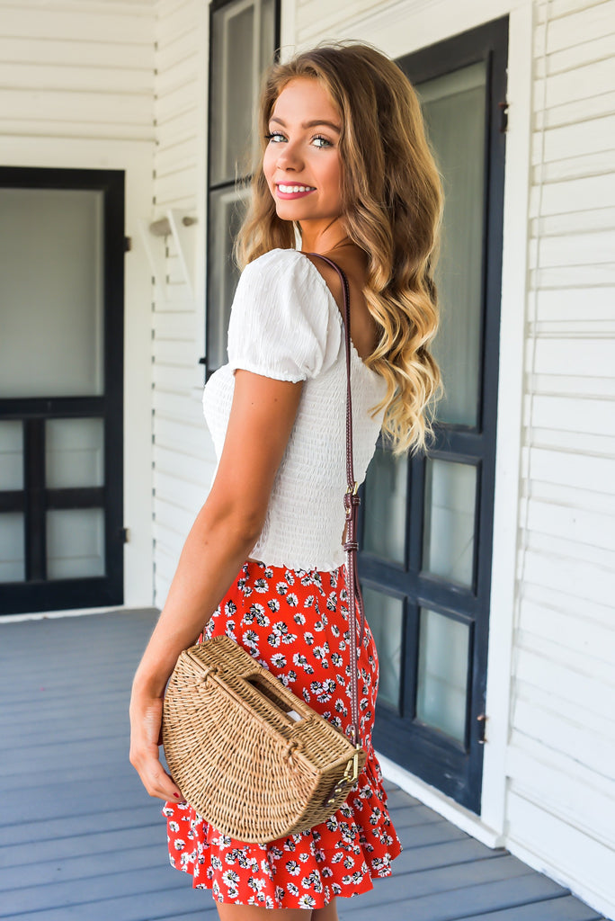 Summer Sweetheart Red Floral Skirt