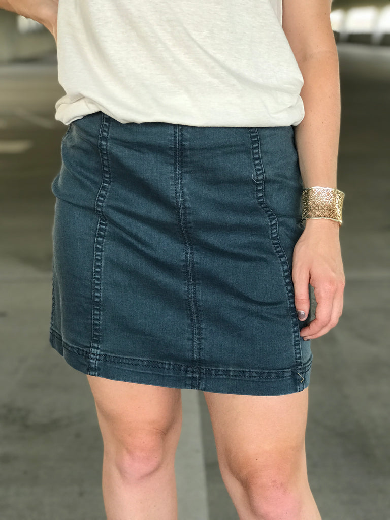 Take Me Out Denim Skirt