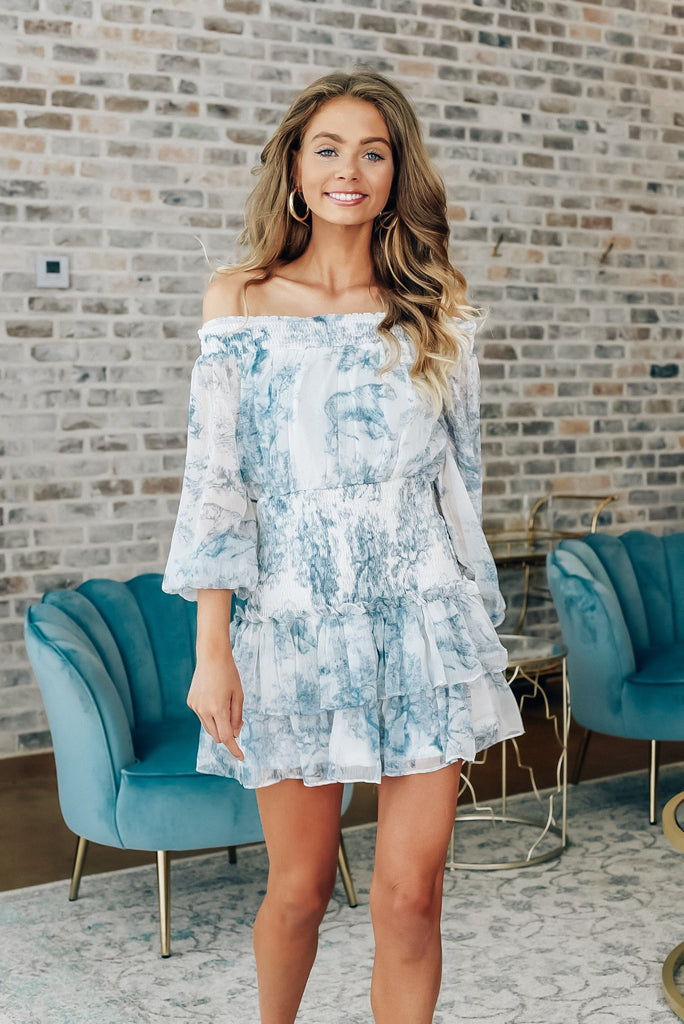 Thinking of You Blue Patterned Dress