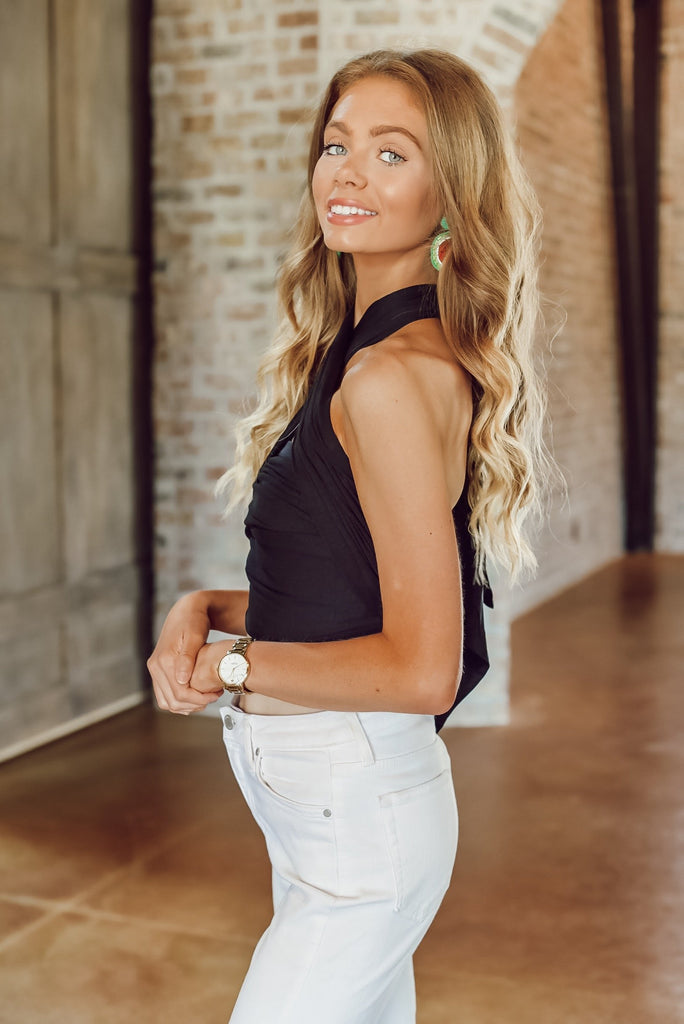 Three Day Weekend Tie Top in Black