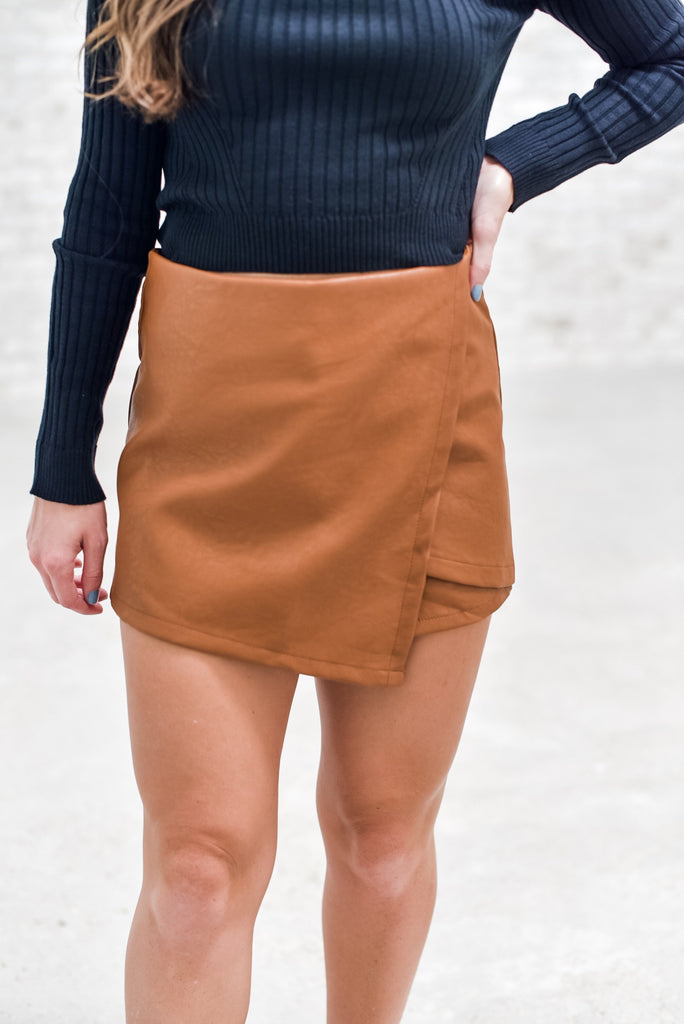 Timeless Evenings Skort in Camel