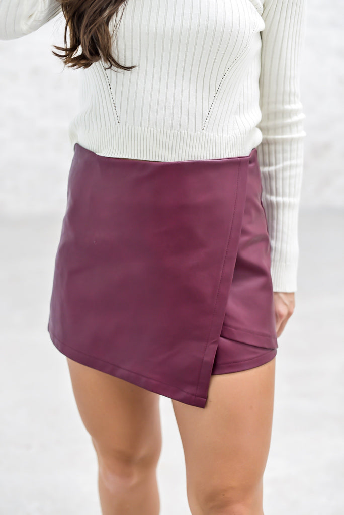Timeless Evenings Skort in Maroon