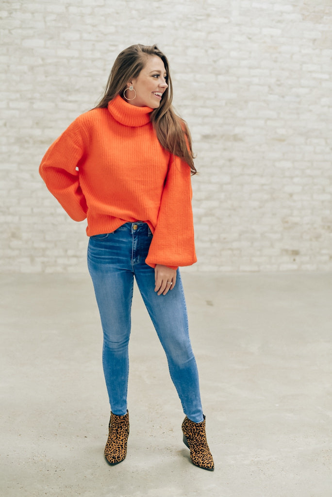 Together Again Neon Orange Turtleneck Sweater