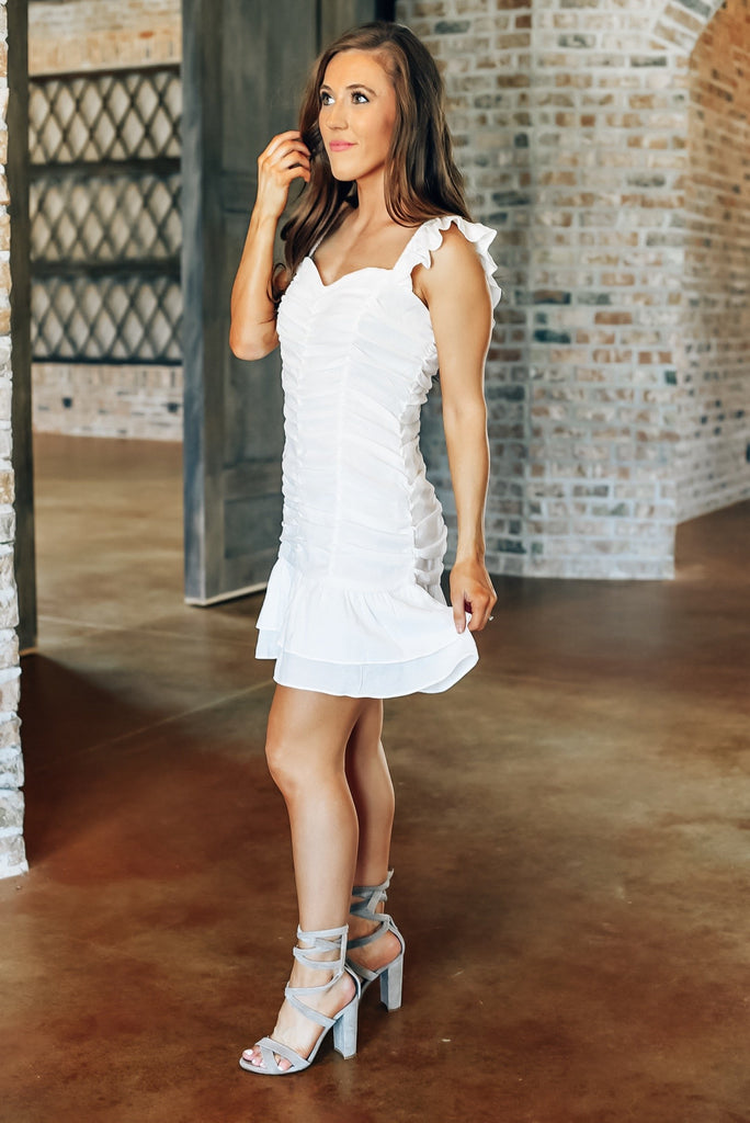 Totally Worth it Ruched Dress in White