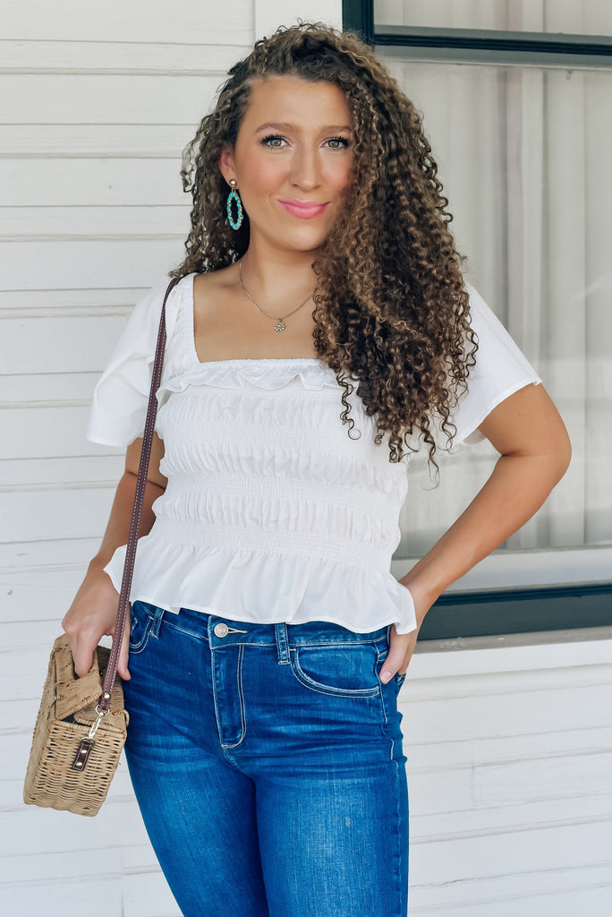 Unforgettable Style Smocked Top in White
