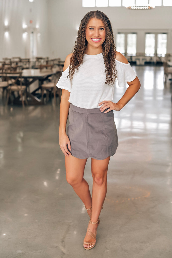 Walk That Way Scalloped Skirt in Gray