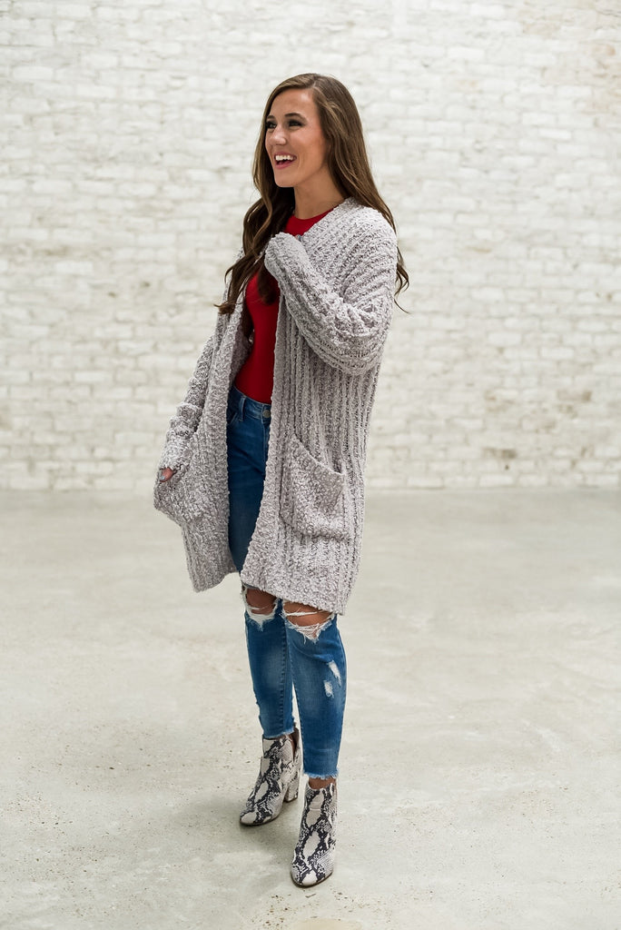 Weekend Campfires Popcorn Cardigan in Pearl Gray