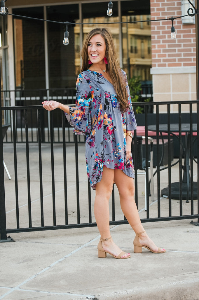 Weekend in Dallas Gray Floral Dress