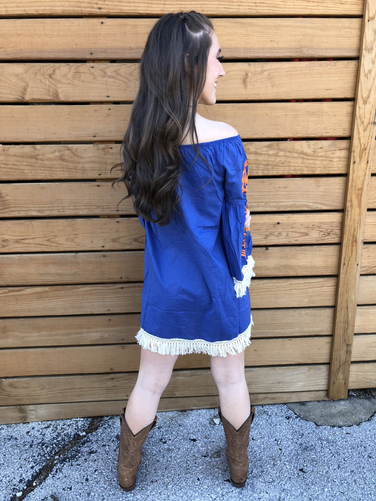 Wild West Mexican Dress - Blue