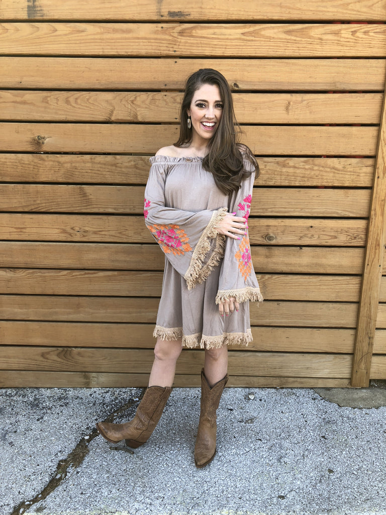 Wild West Mexican Dress - Mocha