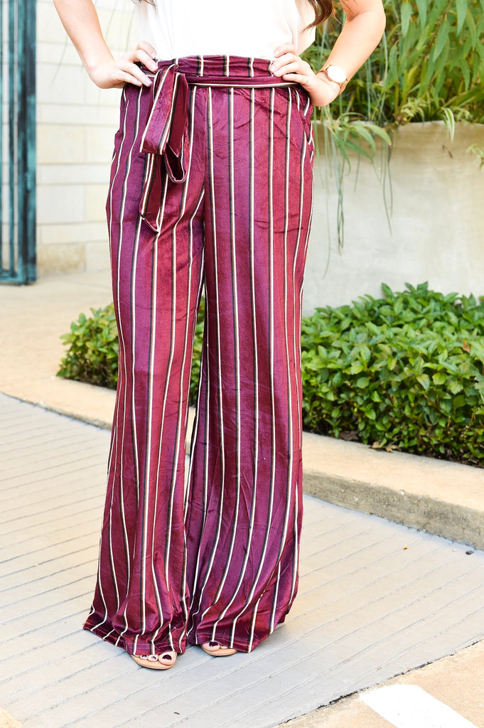 Wine Night Striped Pants