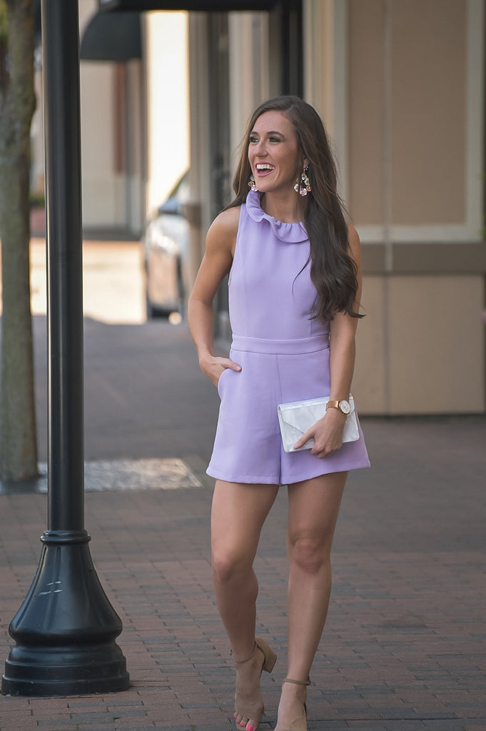 Wishful Hearts Romper in Lavender