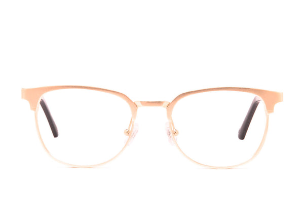 Moscow Rose Gold Recyclable Aluminum Glasses with Prescription-Ready Clear Lens