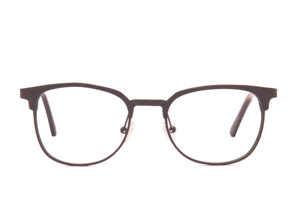 Moscow Matte Black Recyclable Aluminum Glasses with Prescription-Ready Clear Lens