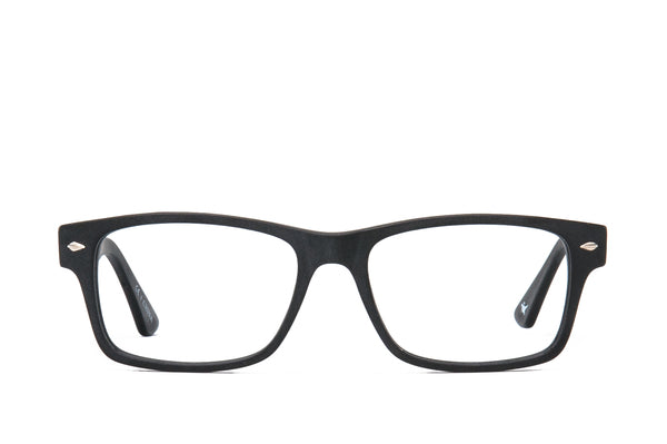 Warren Matte Black Cotton-Based Acetate Eco Glasses with Prescription-Ready Clear Lens