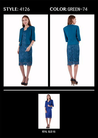 Lace Dress & Jacket set - Teal 4126
