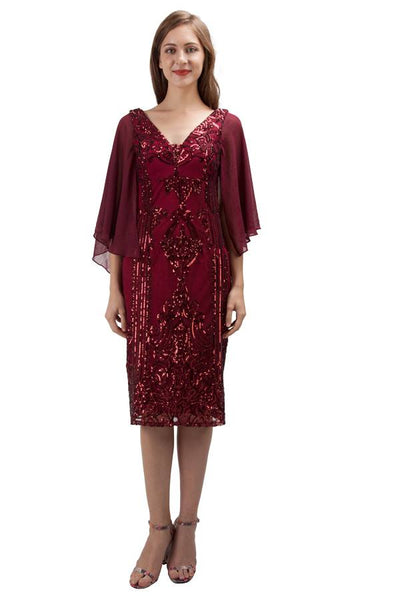 Sequin cocktail dress with chiffon sleeve